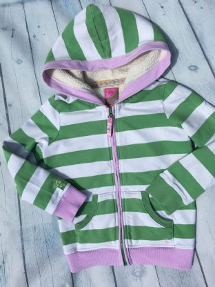 Joules green and white striped zip up hoodie with pink trim age 7 (6-7)